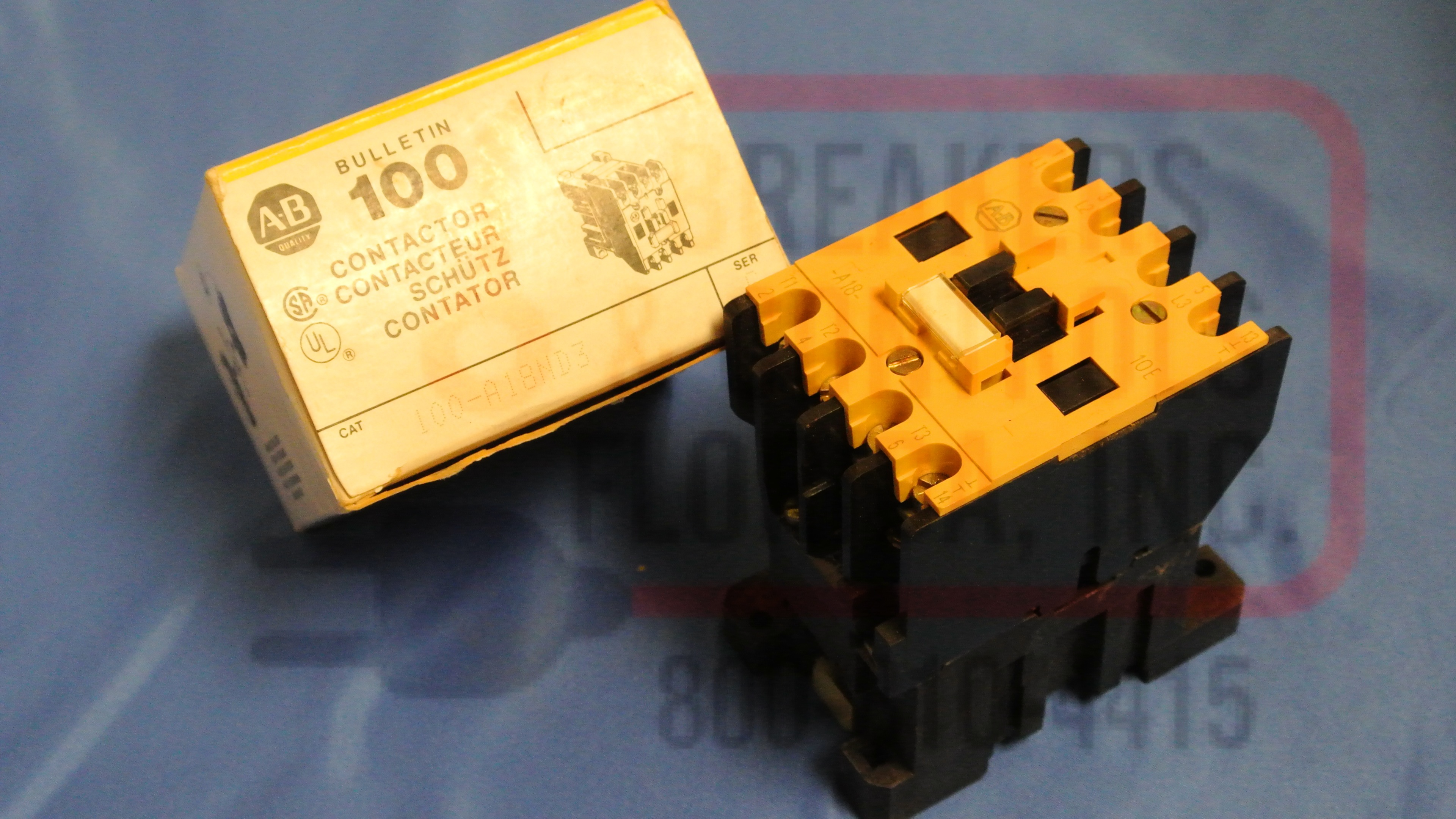 Allen Bradley 100-A18ND3 CONTACTOR 18AMP 3POLE 110/120VAC COIL 1NO