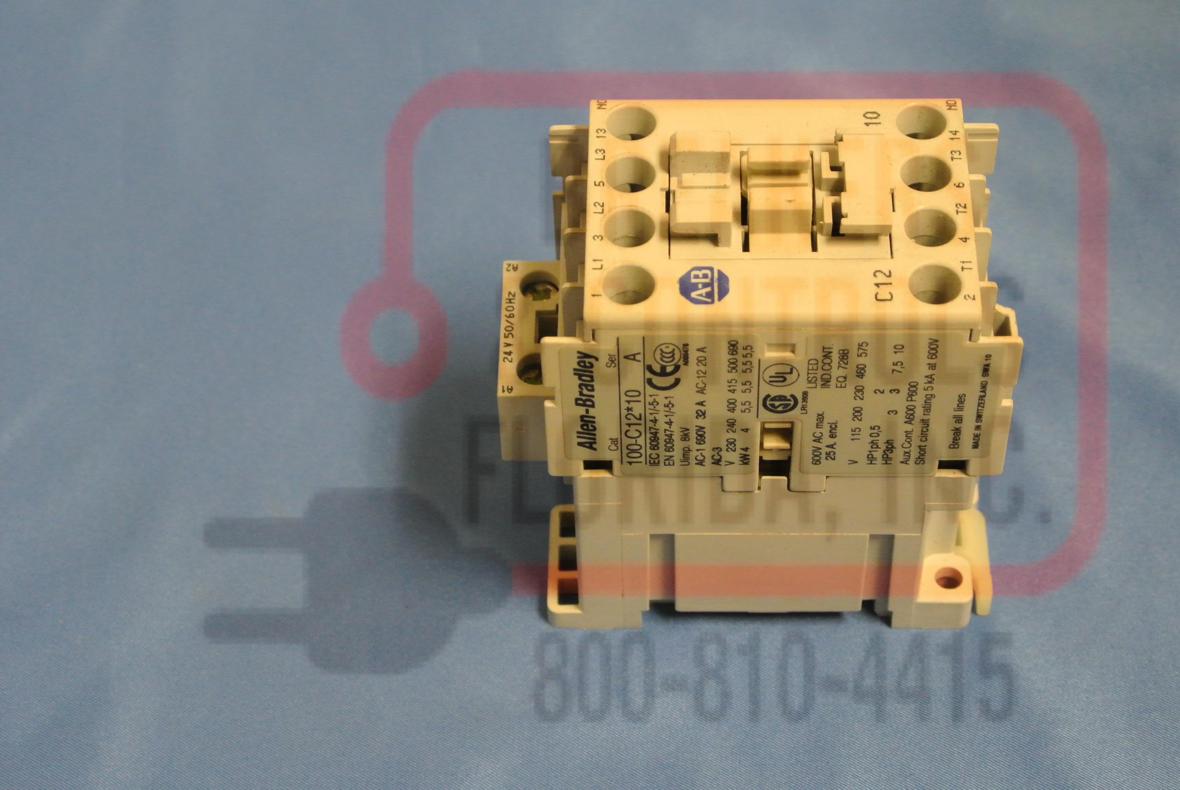 Allen Bradley 100-c12*10 12AMP 3POLE 110/120VAC 1NO Aux Non-Rev