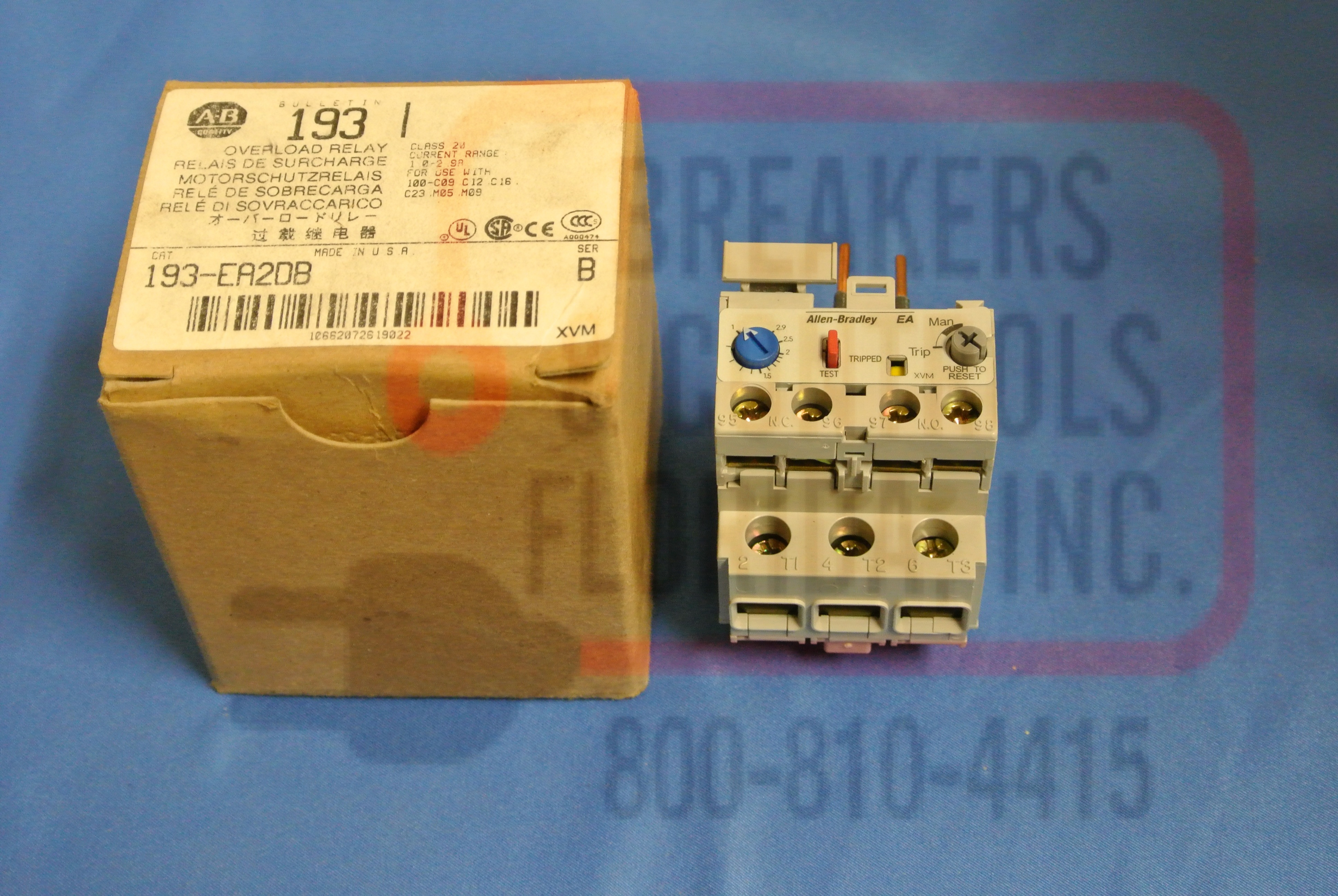Allen Bradley 193-EA2DB SOLID STATE OVERLOAD RELAY,MANUAL RESET,1.0-2.9A